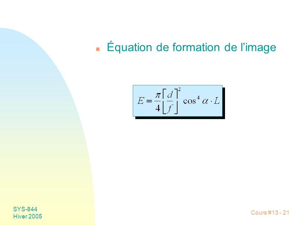 Équation de formation de l'image