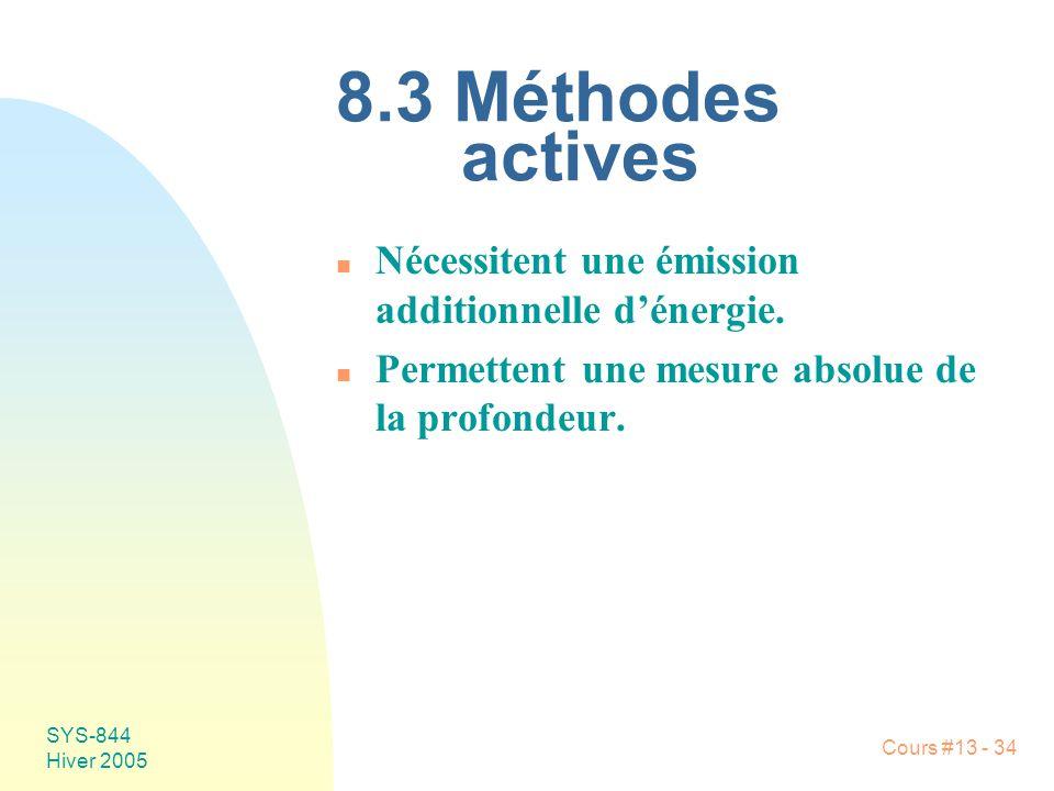 8.3 Méthodes actives Nécessitent une émission additionnelle d'énergie.