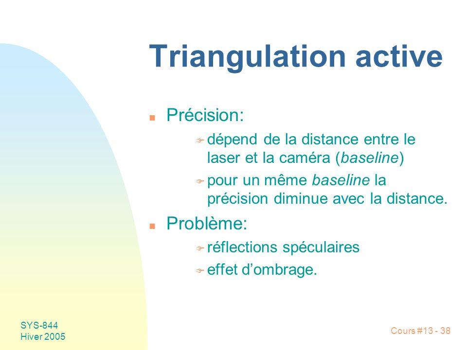 Triangulation active Précision: Problème: