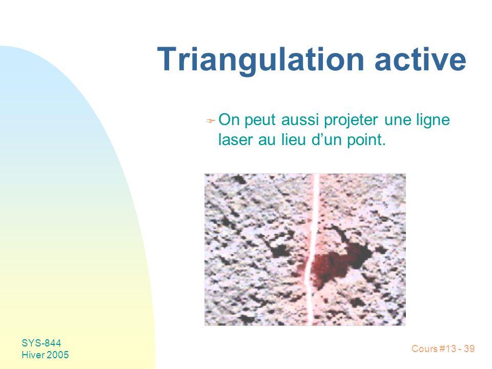 Triangulation active On peut aussi projeter une ligne laser au lieu d'un point. SYS-844 Hiver 2005
