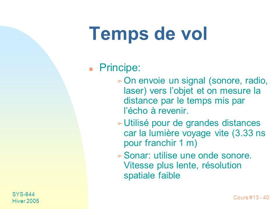 Temps de vol Principe: On envoie un signal (sonore, radio, laser) vers l'objet et on mesure la distance par le temps mis par l'écho à revenir.