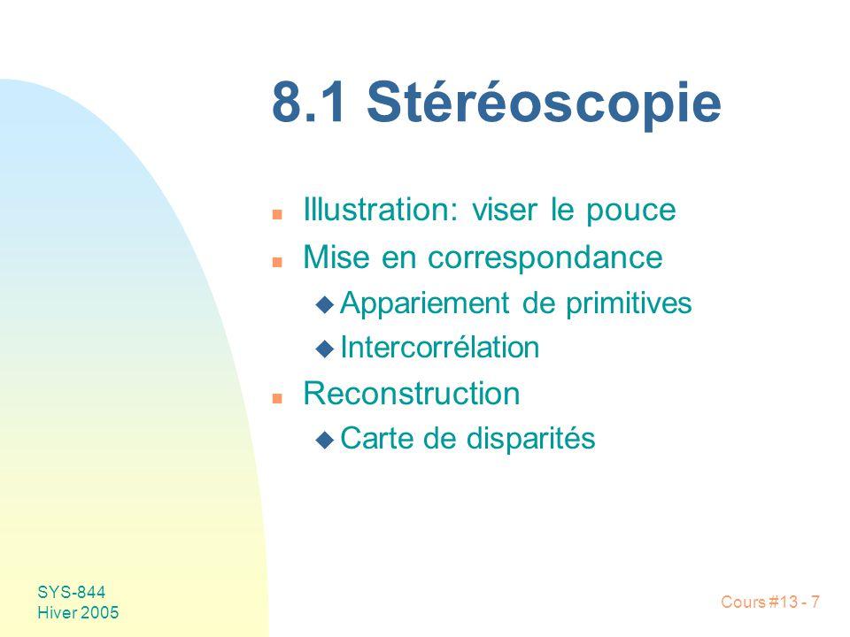 8.1 Stéréoscopie Illustration: viser le pouce Mise en correspondance