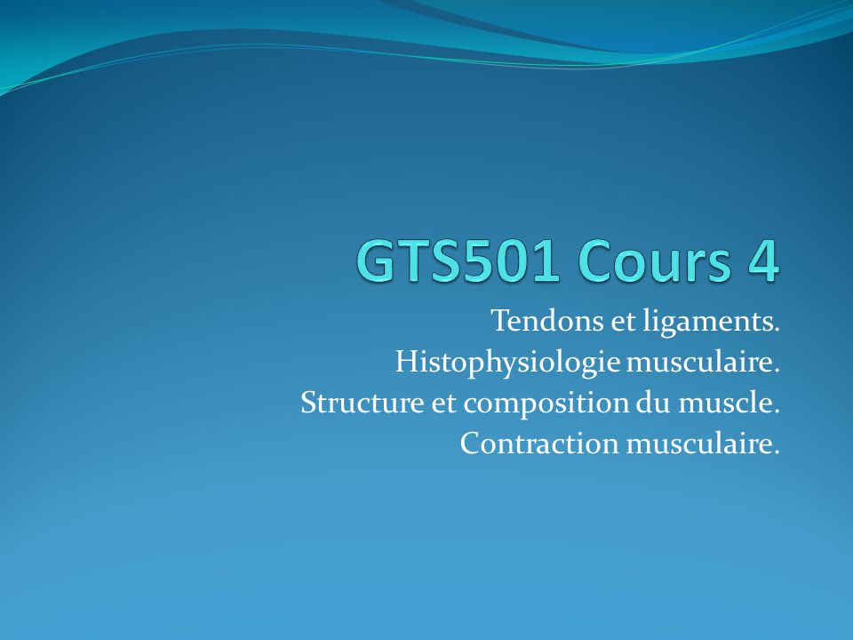 GTS501 Cours 4 Tendons et ligaments. Histophysiologie musculaire.