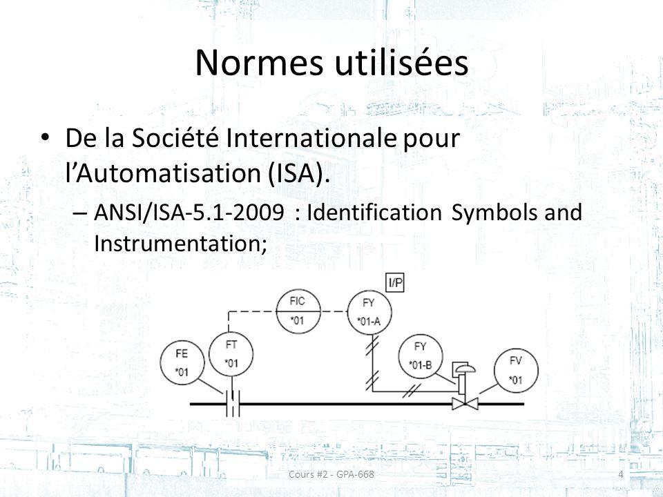 Normes utilisées De la Société Internationale pour l'Automatisation (ISA). ANSI/ISA-5.1-2009 : Identification Symbols and Instrumentation;