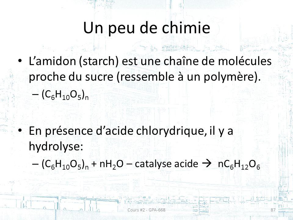 Un peu de chimie L'amidon (starch) est une chaîne de molécules proche du sucre (ressemble à un polymère).