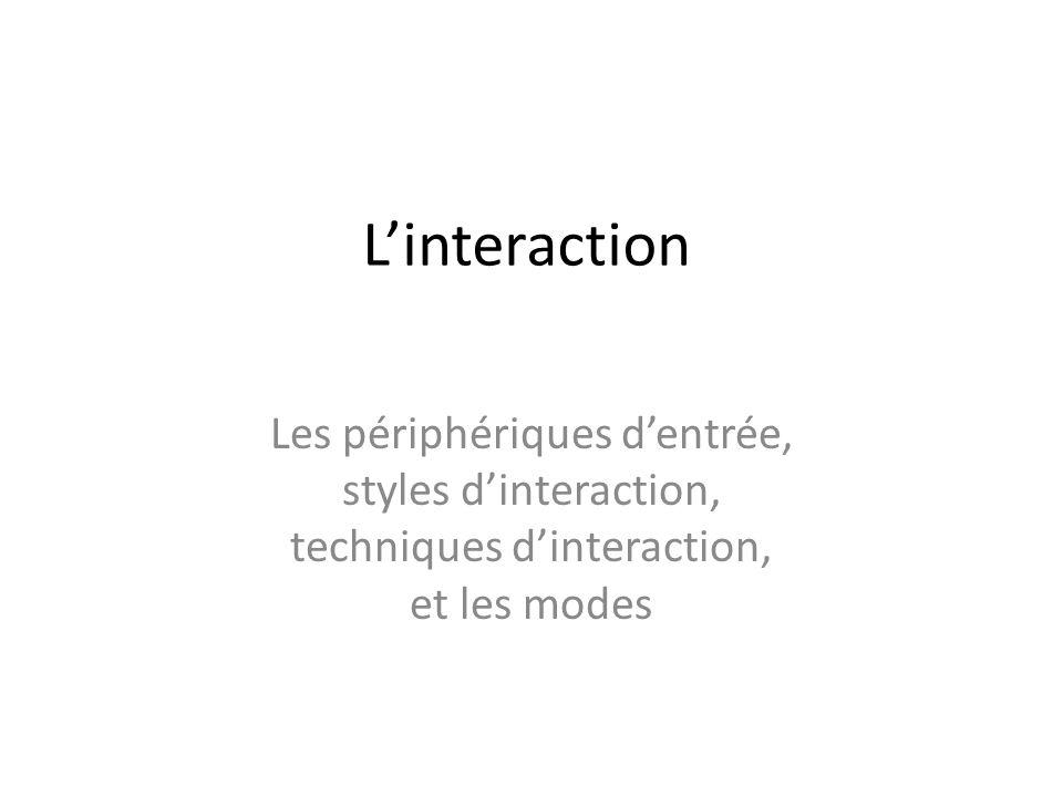 L'interaction Les périphériques d'entrée, styles d'interaction, techniques d'interaction, et les modes.