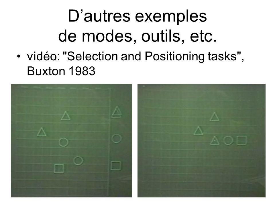 D'autres exemples de modes, outils, etc.