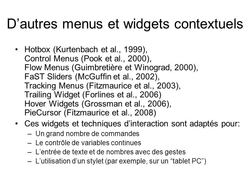D'autres menus et widgets contextuels