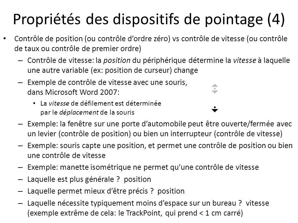 Propriétés des dispositifs de pointage (4)