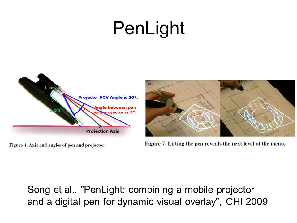 PenLight Song et al., PenLight: combining a mobile projector and a digital pen for dynamic visual overlay , CHI 2009.