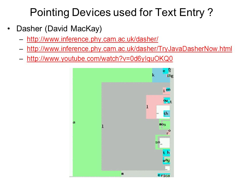 Pointing Devices used for Text Entry
