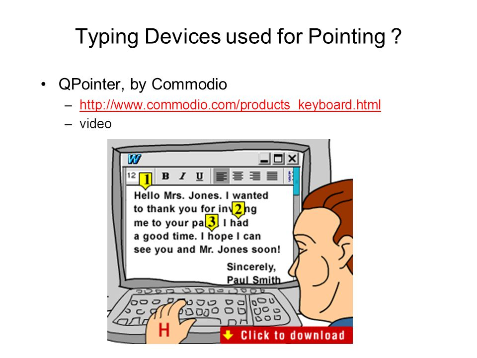 Typing Devices used for Pointing