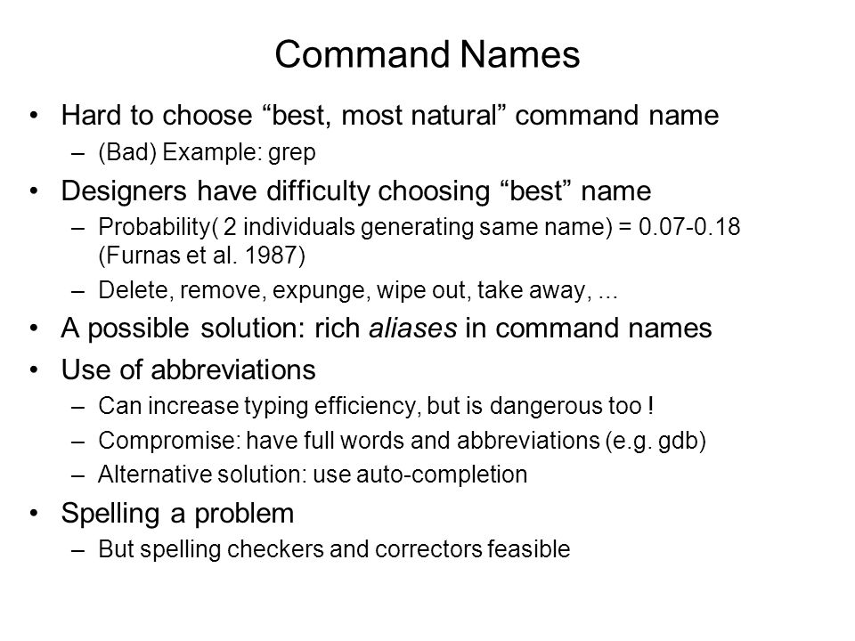 Command Names Hard to choose best, most natural command name