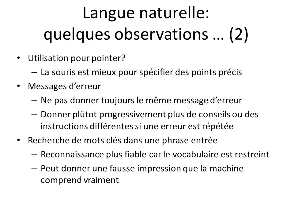Langue naturelle: quelques observations … (2)