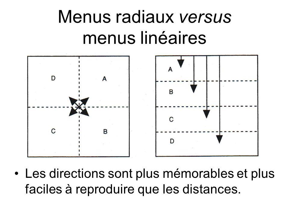 Menus radiaux versus menus linéaires