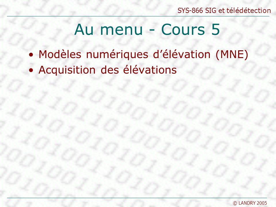 Au menu - Cours 5 Modèles numériques d'élévation (MNE)