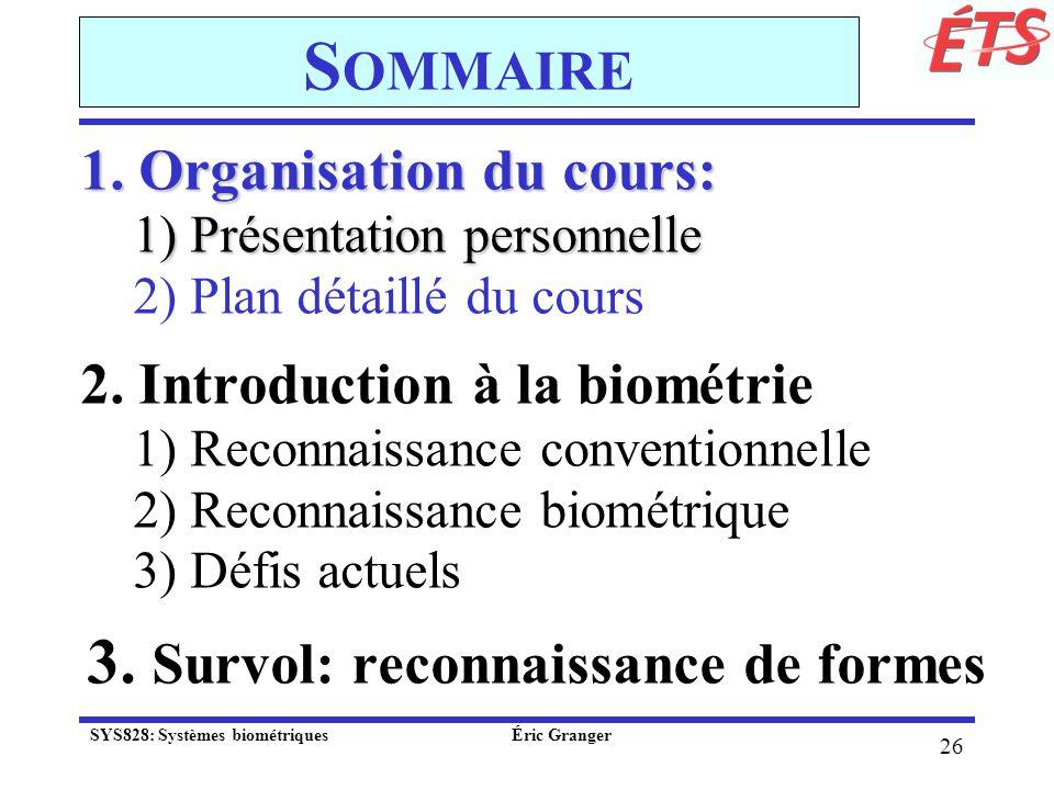 Sommaire 3. Survol: reconnaissance de formes 1. Organisation du cours: