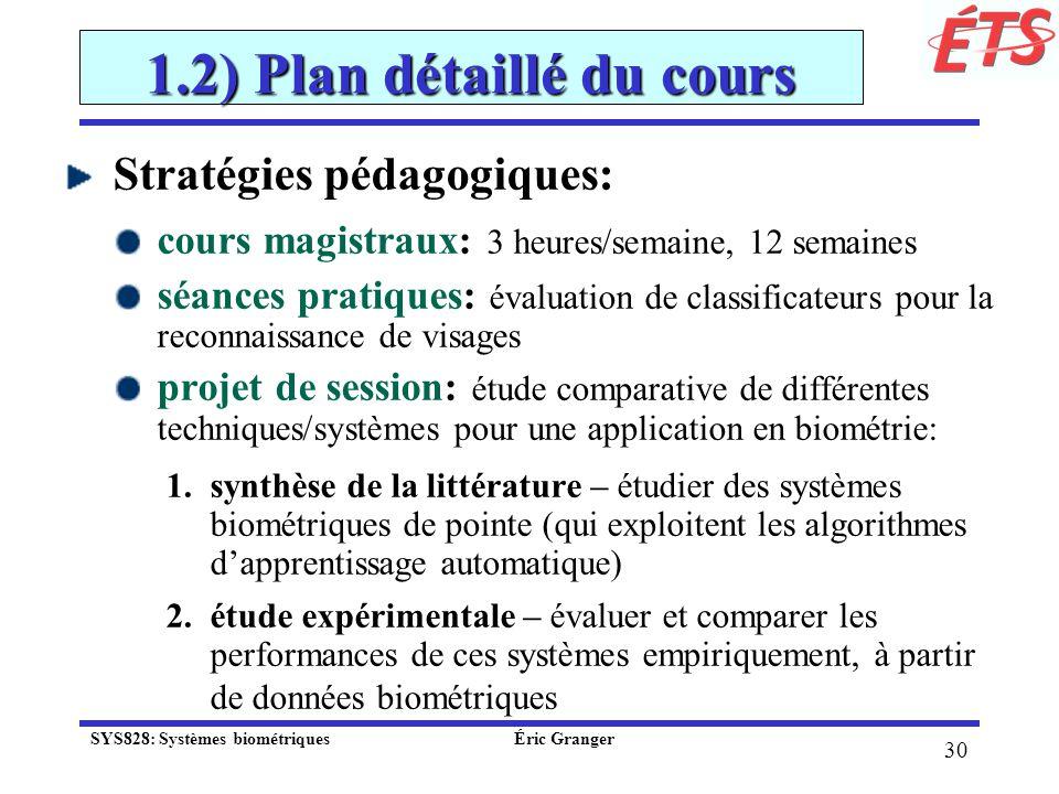 1.2) Plan détaillé du cours