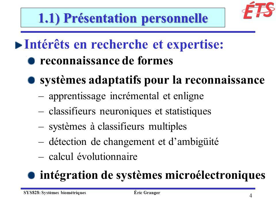 1.1) Présentation personnelle