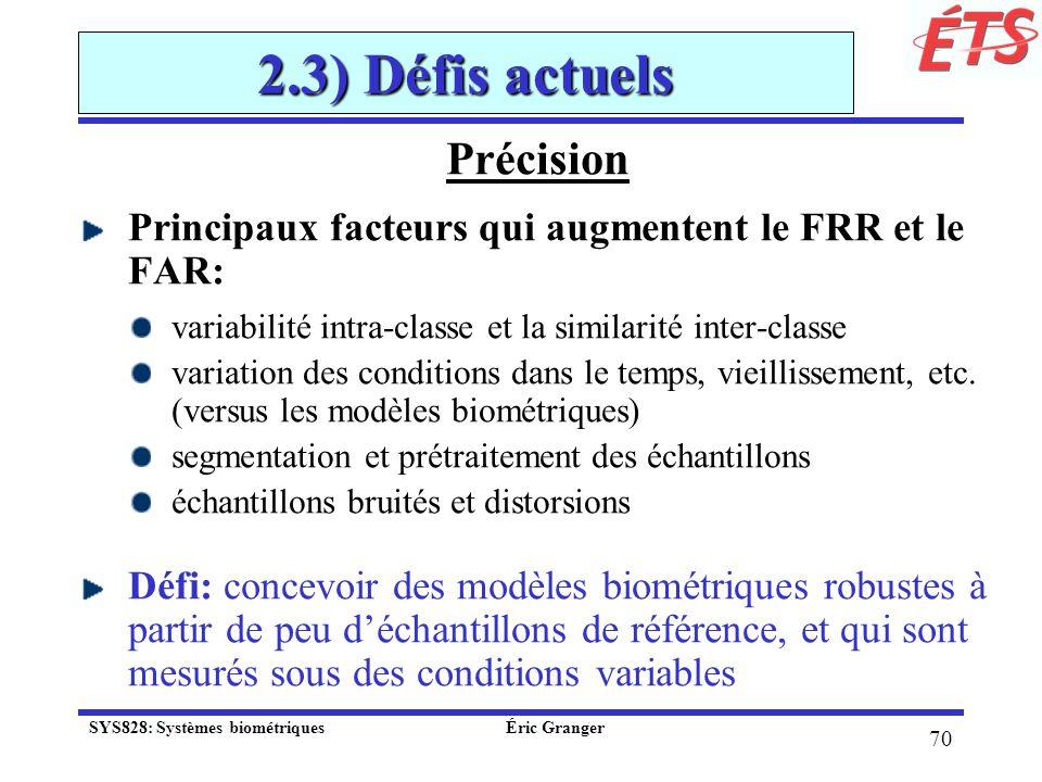 2.3) Défis actuels Précision