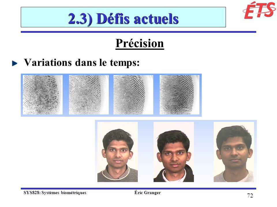 2.3) Défis actuels Précision Variations dans le temps:
