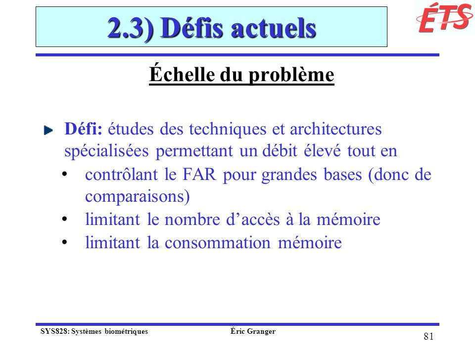 2.3) Défis actuels Échelle du problème