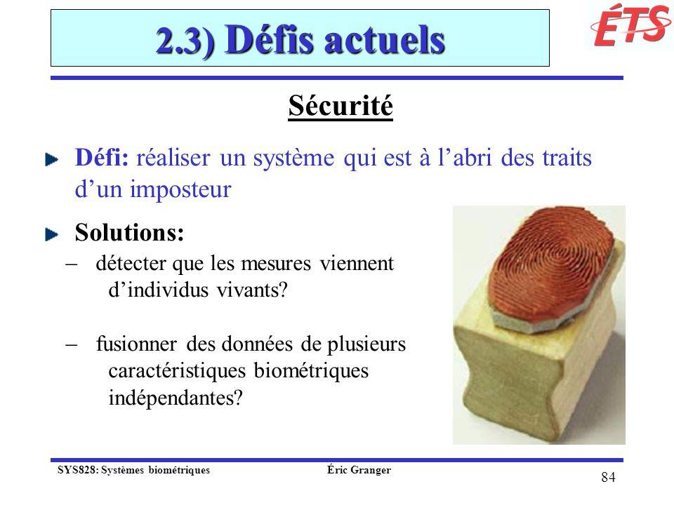 2.3) Défis actuels Sécurité
