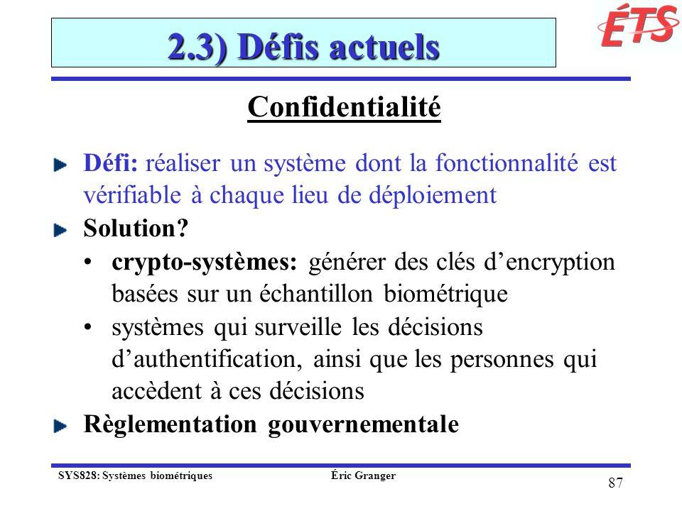2.3) Défis actuels Confidentialité