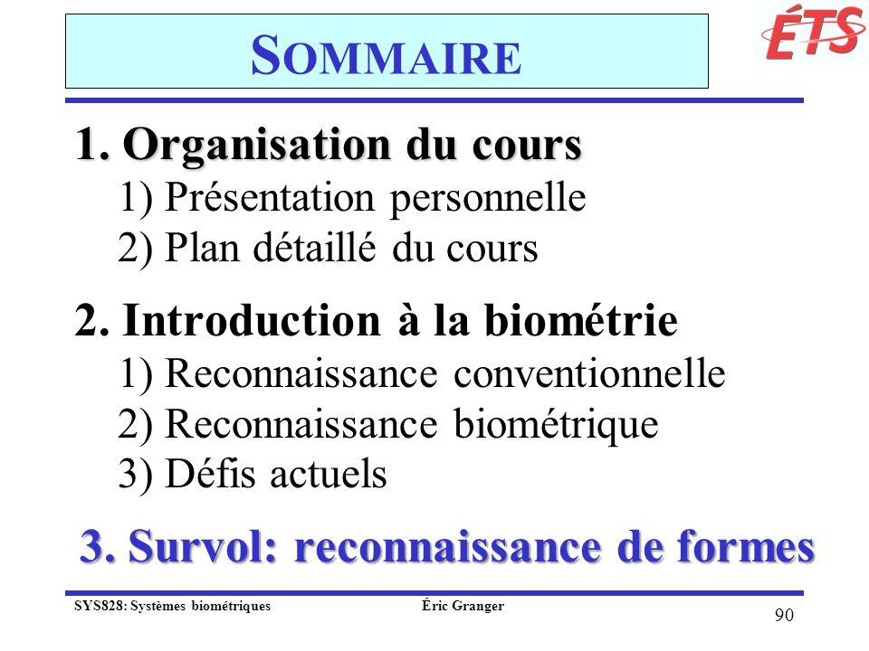 Sommaire 1. Organisation du cours 2. Introduction à la biométrie