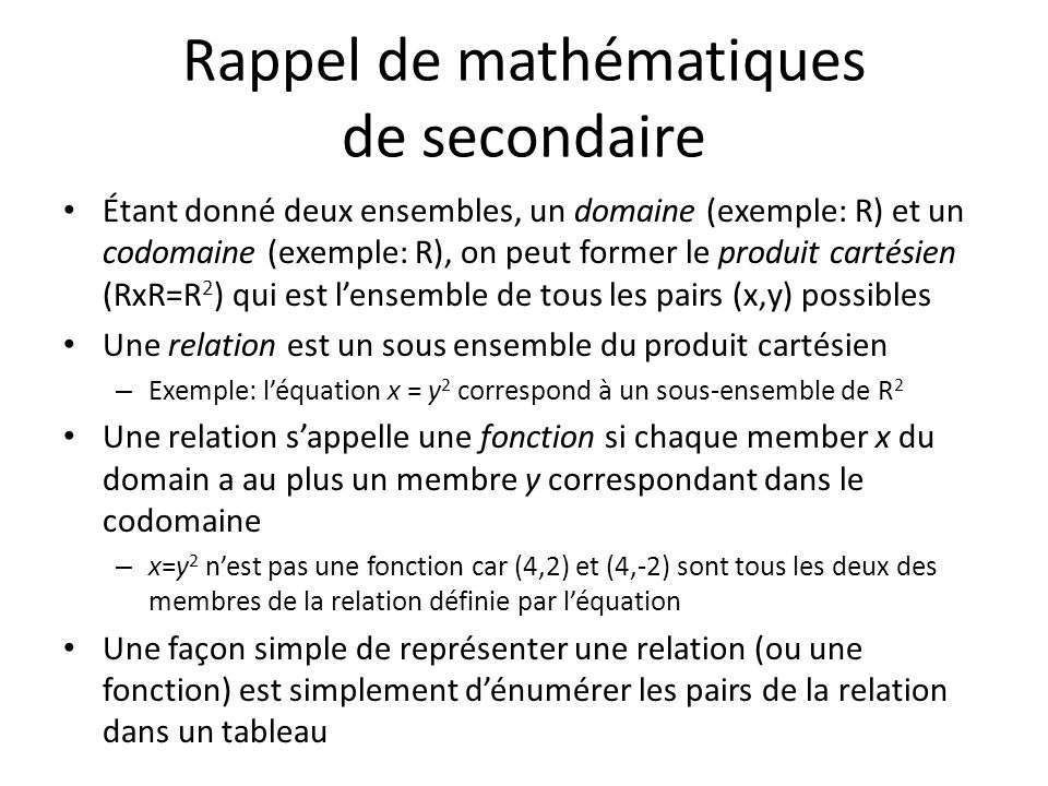 Rappel de mathématiques de secondaire