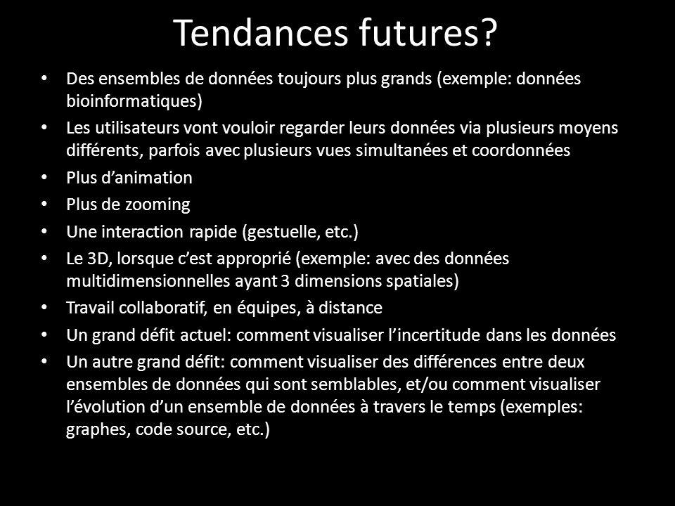 Tendances futures Des ensembles de données toujours plus grands (exemple: données bioinformatiques)