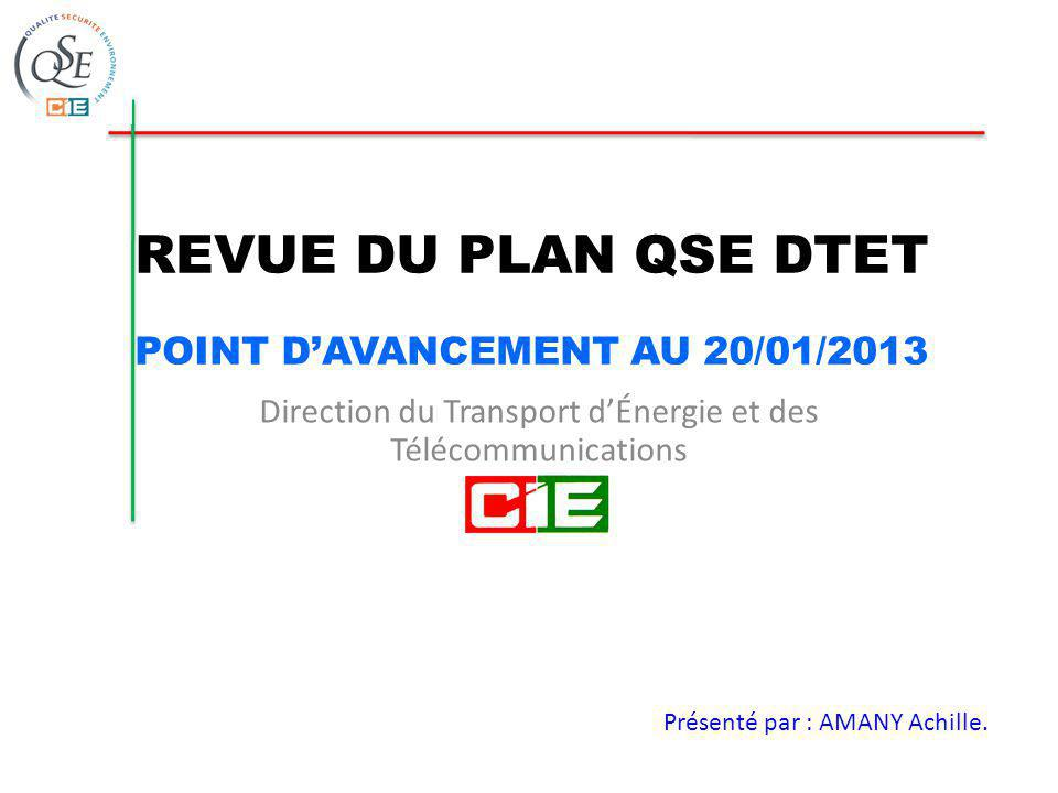 REVUE DU PLAN QSE DTET POINT D'AVANCEMENT AU 20/01/2013