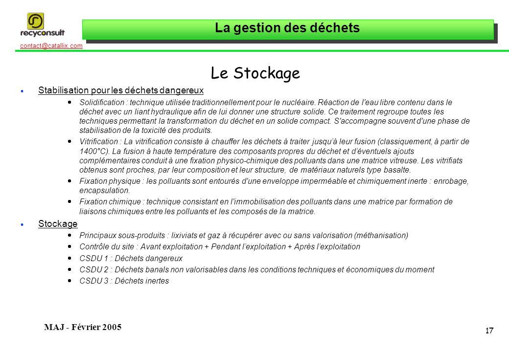 Le Stockage Stabilisation pour les déchets dangereux Stockage