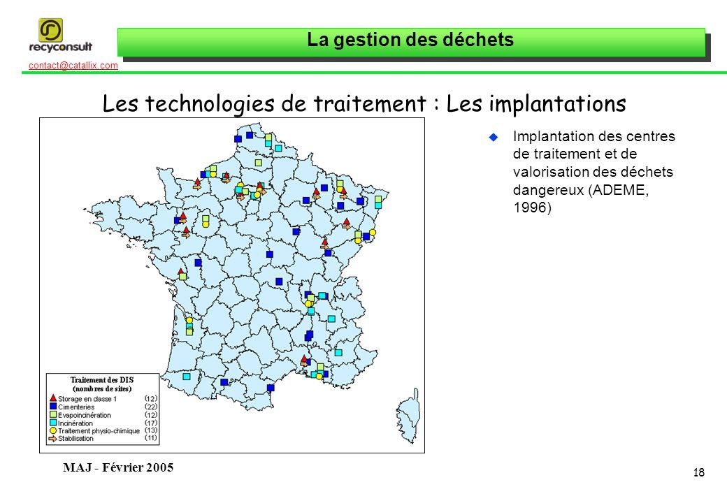 Les technologies de traitement : Les implantations