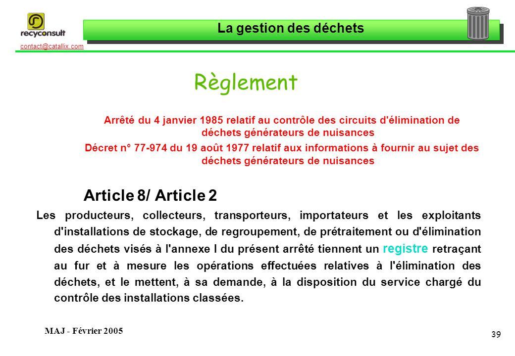 Règlement Article 8/ Article 2