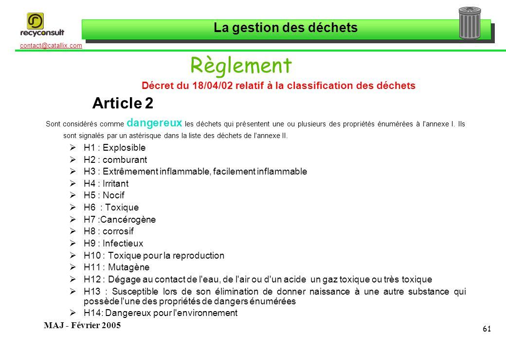Décret du 18/04/02 relatif à la classification des déchets
