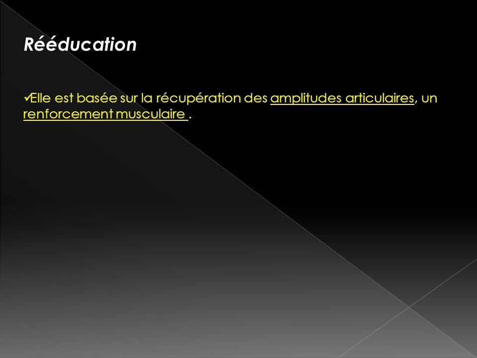 Rééducation Elle est basée sur la récupération des amplitudes articulaires, un renforcement musculaire .