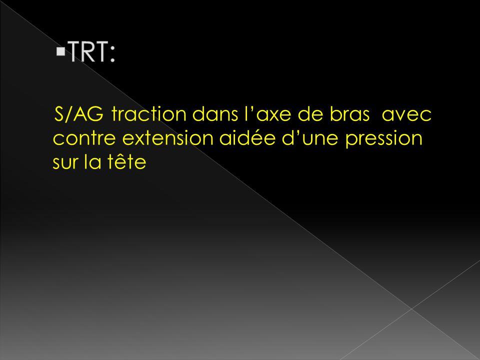 TRT: S/AG traction dans l'axe de bras avec contre extension aidée d'une pression sur la tête