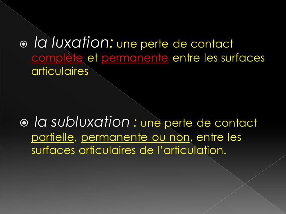 la luxation: une perte de contact complète et permanente entre les surfaces articulaires