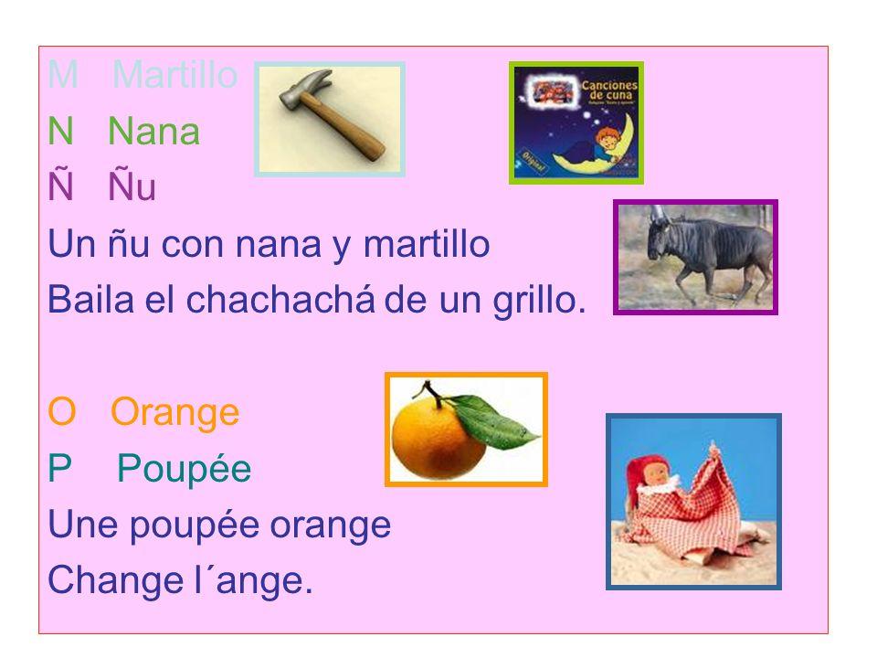 M Martillo N Nana. Ñ Ñu. Un ñu con nana y martillo. Baila el chachachá de un grillo. O Orange.