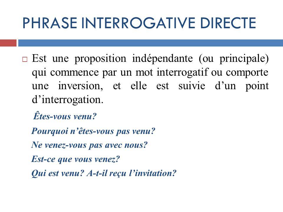 PHRASE INTERROGATIVE DIRECTE