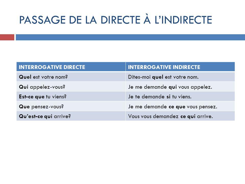 PASSAGE DE LA DIRECTE À L'INDIRECTE
