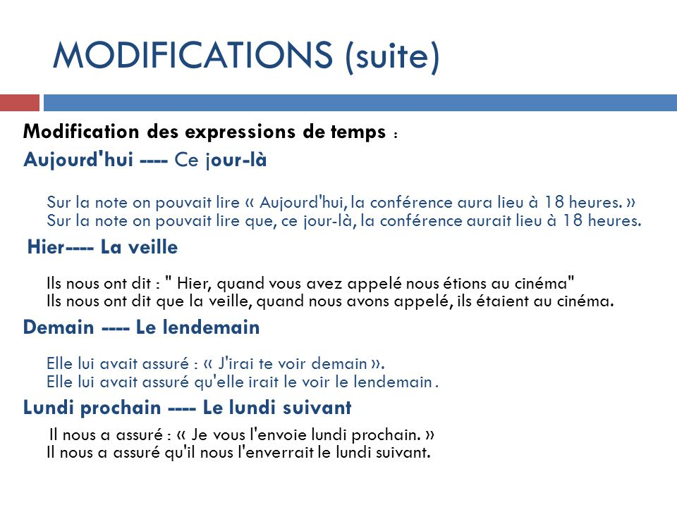 MODIFICATIONS (suite)