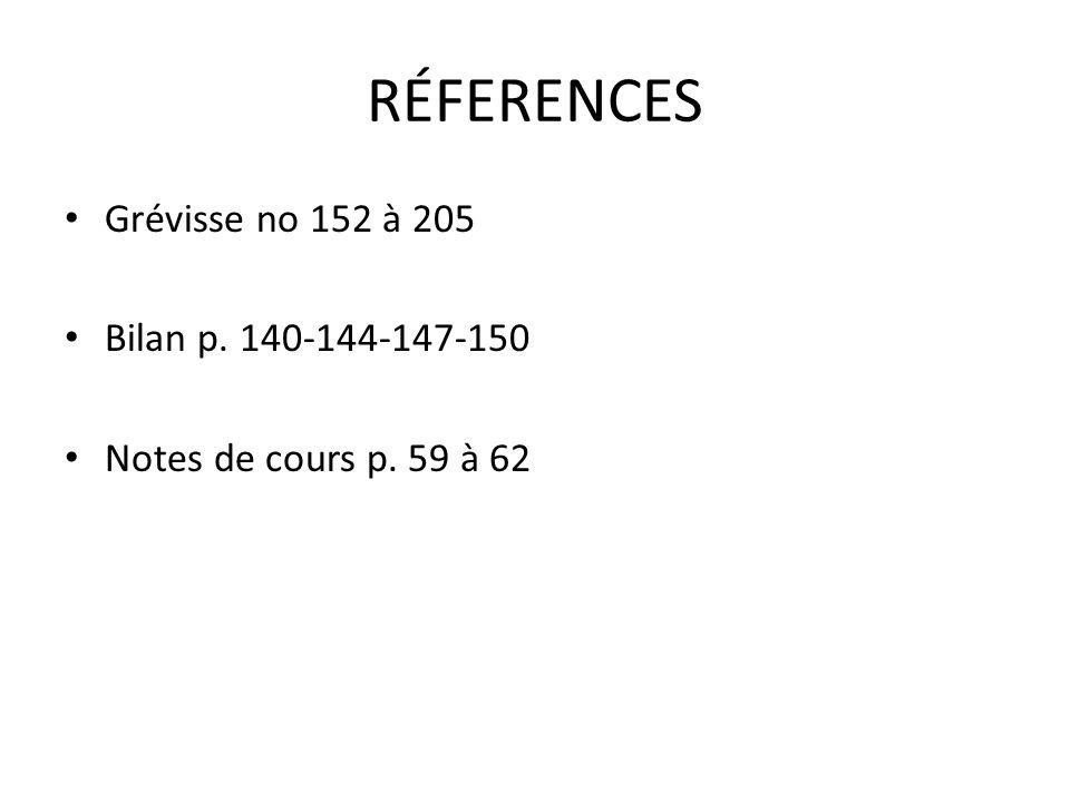 RÉFERENCES Grévisse no 152 à 205 Bilan p. 140-144-147-150