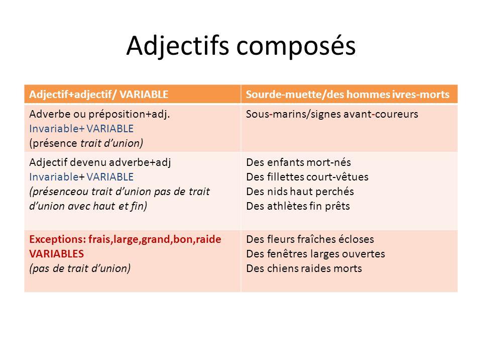 Adjectifs composés Adjectif+adjectif/ VARIABLE