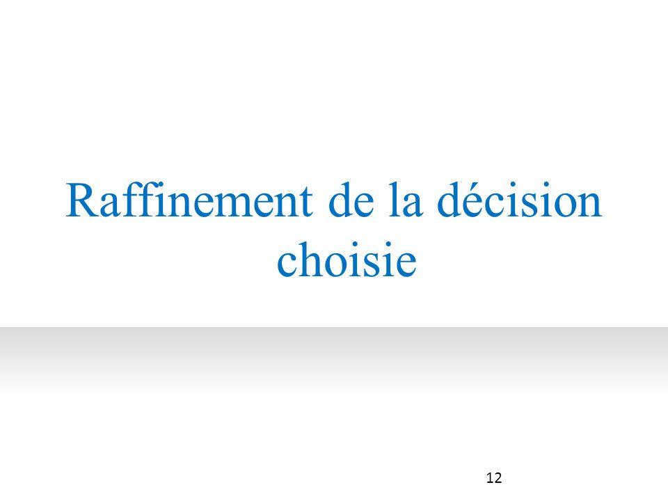 Raffinement de la décision choisie
