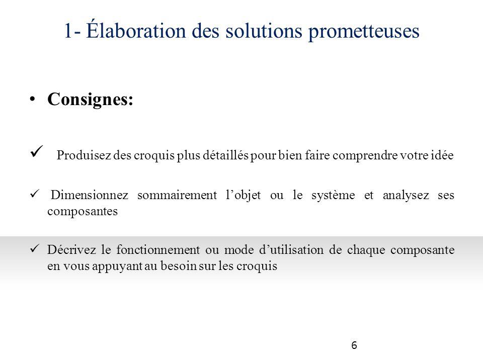 1- Élaboration des solutions prometteuses