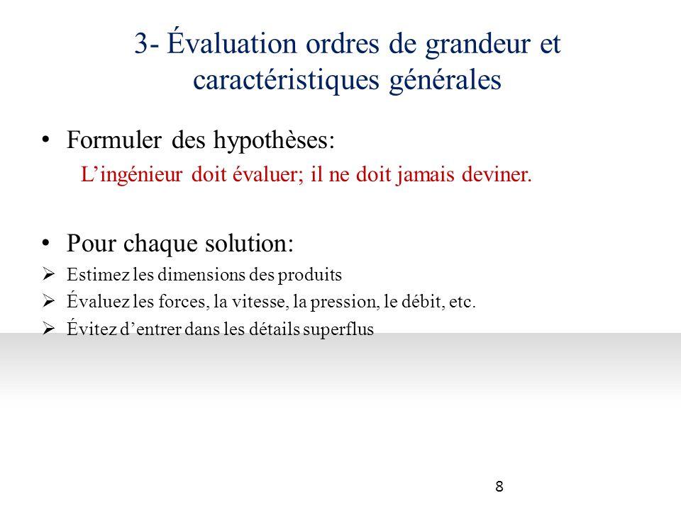 3- Évaluation ordres de grandeur et caractéristiques générales