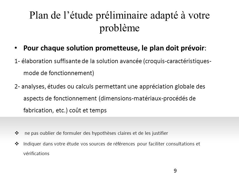 Plan de l'étude préliminaire adapté à votre problème