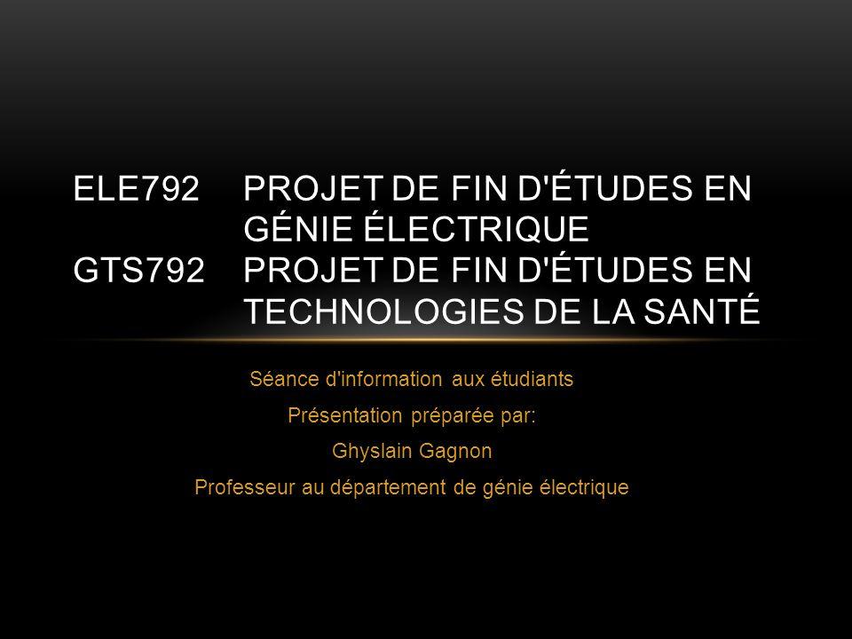 ELE792. Projet de fin d études en. génie électrique GTS792